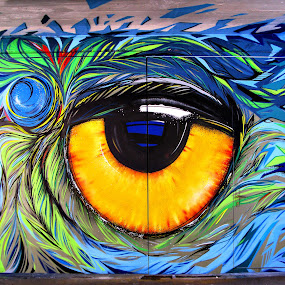 Graffiti EYE by Daliana Pacuraru - Mixed Media All Mixed Media ( daliana pacuraru, blue, graffiti, wall, drawing, eye,  )