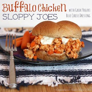 {Healthier} Buffalo Chicken Sloppy Joes