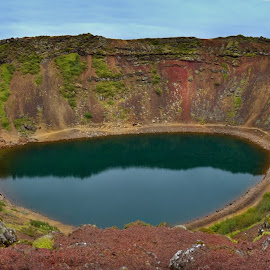 Colorful crater Kerid, Iceland by Michaela Firešová - Landscapes Mountains & Hills ( panorama, iceland, crater, water, colors )