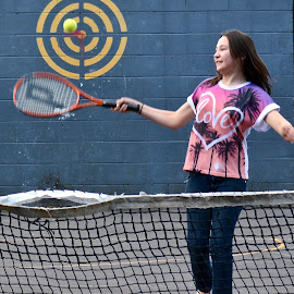bulls eye by Rachel Urlich - Sports & Fitness Tennis ( ball, racket, novice, fun, swift movement, hand eye coordination )