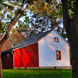 House at Sunset by Jim Signorelli - Buildings & Architecture Other Exteriors ( farm, sunset house, red house )