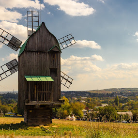 A Windmill #2 by Andrey Dayen - Buildings & Architecture Other Exteriors ( clouds, building, grass, bright, architecture, landscape, country, sky, ukraine, nature, kyiv, summer, day, windmill,  )
