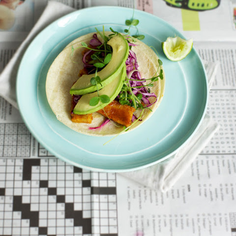 Orange + Ancho Braised Tempeh Tacos With Ruby Grapefruit Slaw