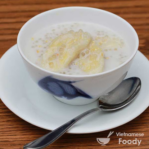 Bananas and Sago Pearls in Coconut Cream (Che Chuoi Chung Recipe)