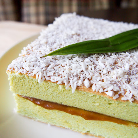 Pandan Coconut Cake with Kaya