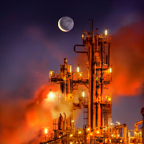 Moonrise over saltend by Keith Britton - Products & Objects Industrial Objects