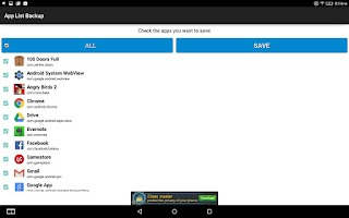 Screenshot of App List Backup