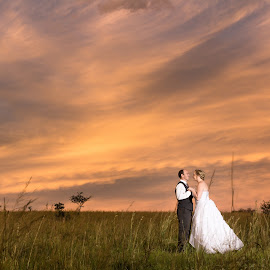 After Sunset by Riaan Roux - Wedding Bride & Groom ( clouds, sunset, bride, groom )