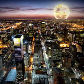 Johannesburg at Night by Mike Irschick - Buildings & Architecture Office Buildings & Hotels ( skyline, architecture, cityscape, evening, moonlight )