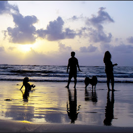 Fun at Beach by Sandeep Bansal - Landscapes Beaches ( water, moin udin, sandeep bansal, mumbai, sunset, manori, sea, ocean, beach,  )