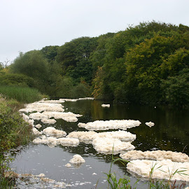 Foam on the Inagh River, Ennistymon by Vonnegut Lee - Novices Only Landscapes (  )