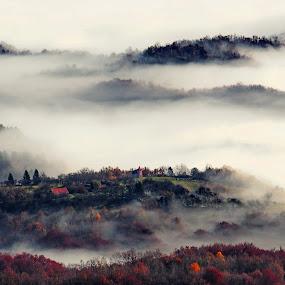 Misty village by Zoran Stanko - City,  Street & Park  Vistas ( village, nature, autumn, fog, place, landscape, mist )