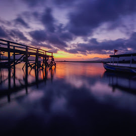 Between the bridge and the boat by Arie Sanjaya - Buildings & Architecture Bridges & Suspended Structures ( sunrise, bridge, water, landscape, boat )
