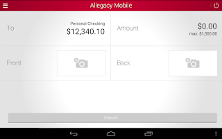 Screenshot of Allegacy Mobile Banking