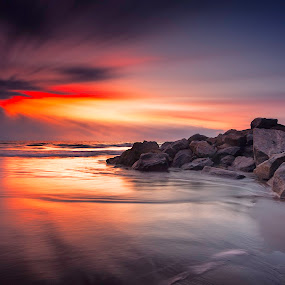 ray of hope by Edward Kreis - Landscapes Sunsets & Sunrises ( clouds, boulders, waterscape, banderas bay, waves, pacific ocean, thanksgiving, travel, scenic, beach, nuevo vallarta, landscape, exposure stacking, puerto vallarta, sky, vacation, nature, sunset, outdoors, resort, surf, golden hour )