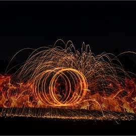 Fire on the Golf Course by Denise Smith - Digital Art Abstract (  )