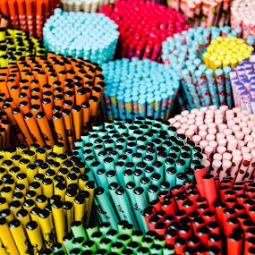 Bundles of Pencils by Yi Xuan Lee - Artistic Objects Other Objects ( orange, red, bundles, blue, pink, yellow, pencils )