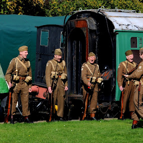 Shout of the Guard by DJ Cockburn - People Group/Corporate ( west sussex, uniform, carriage, re-enactment, bluebell railway, world war two, horsted keynes station, military, parade, england, dad's army, british army, re-enactor, drill, 23rd sussex home guard, rifle, second world war, historical,  )