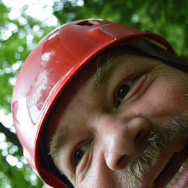 Me On the Zip by Thomas Shaw - People Portraits of Men ( bear, climb works, green, forest, helmet, teeth, cub, zip line, eyes, hairy, blonde, red, straps, lips, beard, brown, smoky mountains, climbworks )