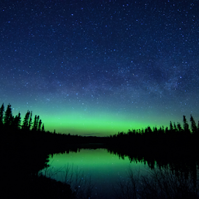 Milky Way and Aurora by Jill Beim - Landscapes Starscapes ( stars, aurora borealis, night sky, nightscape, milky way )