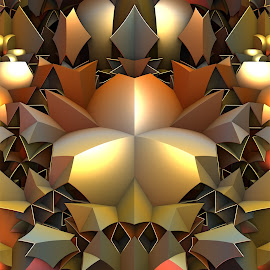 Metal Mind by Lyle Hatch - Illustration Abstract & Patterns ( geometric, three dimensional, 3d, shadow, detailed, mandelbulb 3d, 3-d, metallic, symmetry, gold, light, golden, intricate )