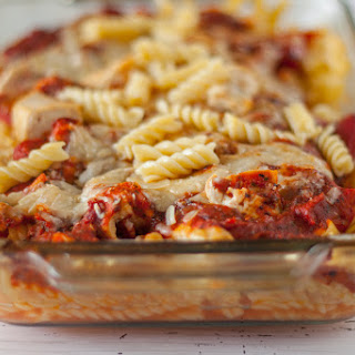 Roasted Red Pepper and Chicken Parmesan Pasta Bake