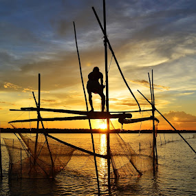FISHING 2 by Dipankar Singha - Landscapes Sunsets & Sunrises