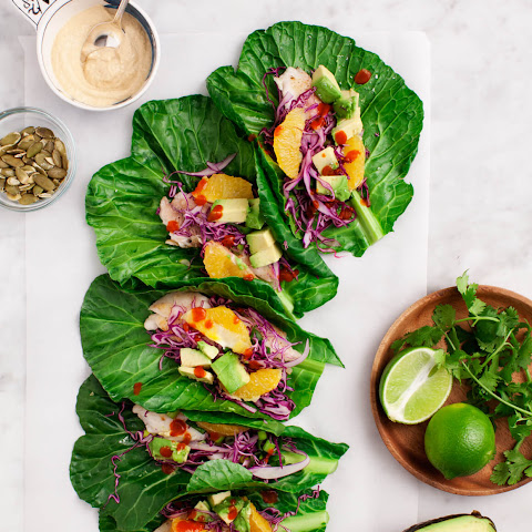Collard Wrap Tacos with Citrus Slaw