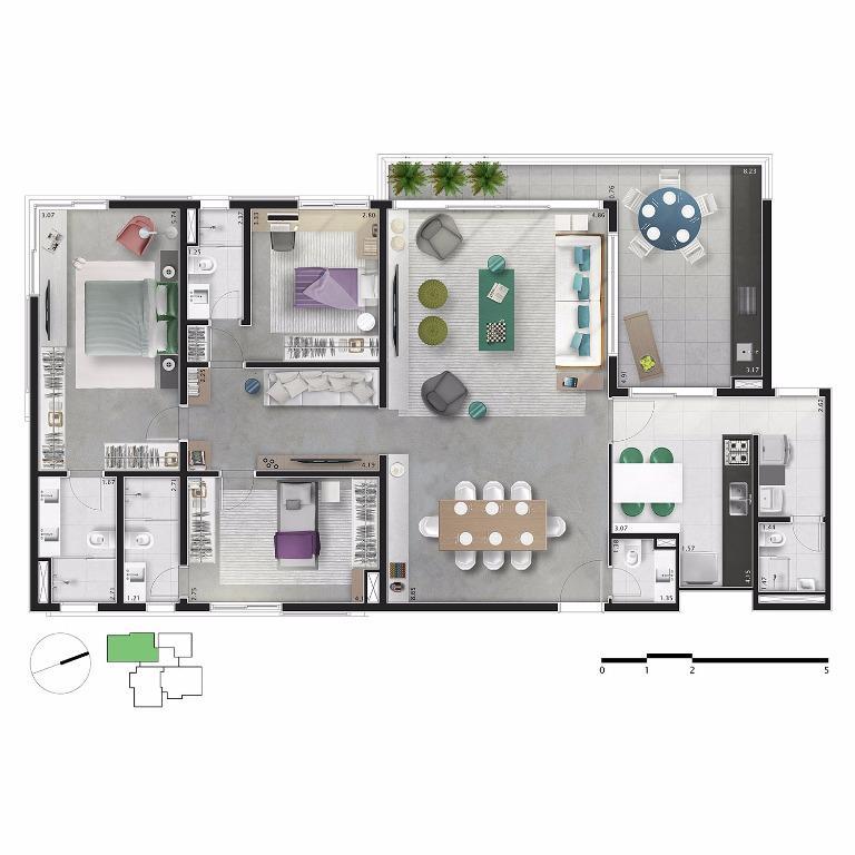 Planta Apto 31,51 e 71 - 168 m²