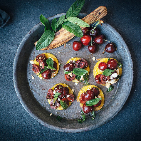 Cherry & Mint Polenta Bruschetta