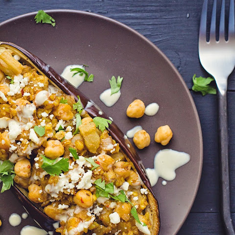 Stuffed Eggplant with Chickpeas, Bulgur Wheat and Tahini Sauce