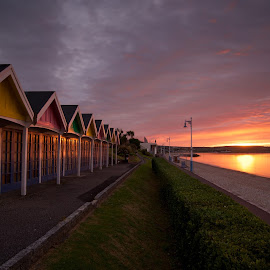 beach huts by Charlie Davidson - Landscapes Sunsets & Sunrises ( clouds, uk, england, sky, sea, beach, seascape, sunrise )