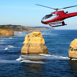 Joy Flight by Susan Marshall - Transportation Helicopters ( water, helicopter, flying, ocean, landscape,  )