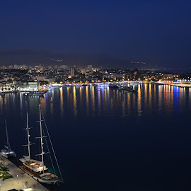 Split by night by Vedrana Vidovic - City,  Street & Park  Night ( nikon, dalmatia, split, port, night )