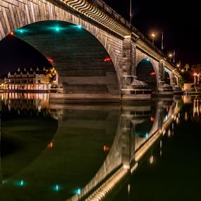 London Bridge by Andy Chow - Buildings & Architecture Bridges & Suspended Structures ( reflection, london bridge, lake havasu, bridge, nightscape )