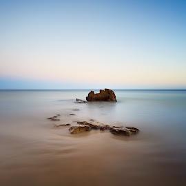 Stone castles in the sand... by Pedro Silva - Landscapes Beaches ( sea, pedrosilvaimages, beach, seascape, atlantic, landscape, 5dmkiii, sands, sunset, algarve, long exposure, stones, portugal, pedro silva )