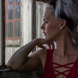 Wistful by Samantha Jansen - People Portraits of Women ( blonde, window, red dress )