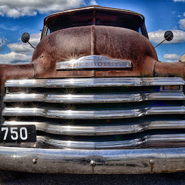 Big Snout ! by Marco Bertamé - Transportation Automobiles ( clouds, car, 3100, pickup, chrome, head lights, 2750, number, rusty, chevy, 2, number plate, 0, sky, vlue, 7, chevrolet, 5, american, grey, brilliant, bumper )