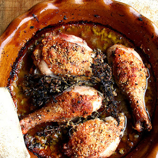 Chicken Legs Baked with White Wine, Olive Oil & Parmigiano Reggiano
