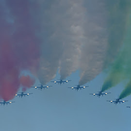 From their back! by Bruno Brunetti - Transportation Airplanes ( airplanes, colors, smoke, frecce tricolori, air show, pan )