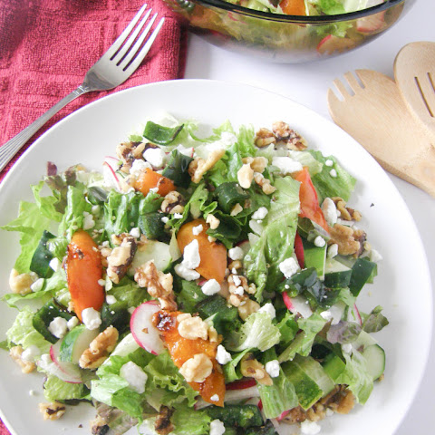 Grilled Apricot Summer Salad with a Balsamic Vinaigrette