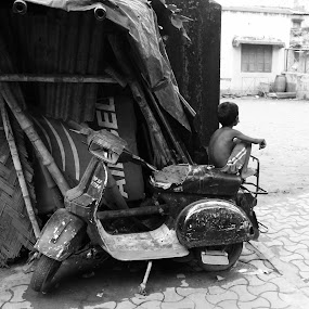 Rear Seat by DrArindam Ghosh - People Street & Candids ( street candids, black and white, street, bw, street photography )