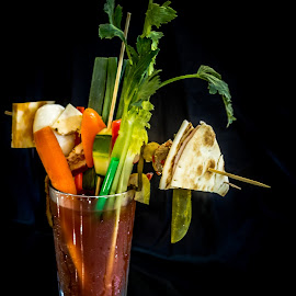 Bloody Mary by William Boyea - Food & Drink Alcohol & Drinks ( mushroom, carrot, pickle, food, breakfast, drink, cheese, pepper, egg, olive, onion )