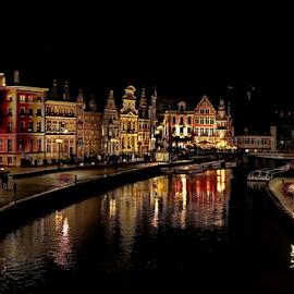 Gent (Belgium) by Ad Spruijt - City,  Street & Park  Night