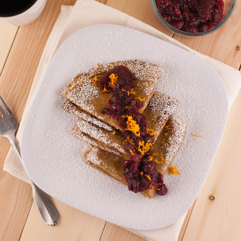 Sweet Potato Crepes With Orange Scented Cranberry Sauce