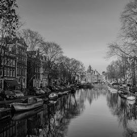 amsterdam  by Diana Acatrini - City,  Street & Park  Street Scenes ( water, waterscape, boats, amsterdam, bridge, boat )