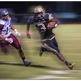 Trying to Turn The Corner by Elk Baiter - Sports & Fitness American and Canadian football ( wildcats, manassas park, running back, high school, football, warren county, varsity, sports, cougars, athlete )