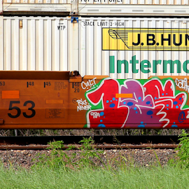 Mickey Mouse tag by Noel Hankamer - Artistic Objects Signs ( grafitti, railroad, rail, numbers, tag, train,  )