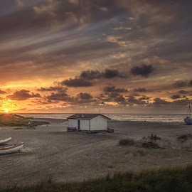 Slettestrand by Ole Steffensen - Landscapes Beaches ( jammerbugten, slettestrand, sunset, boats, fishing, denmark, beach )