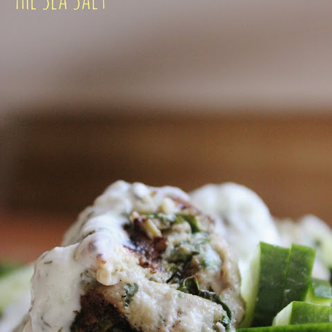 Grilled Greek Turkey Meatballs with Yogurt Sauce